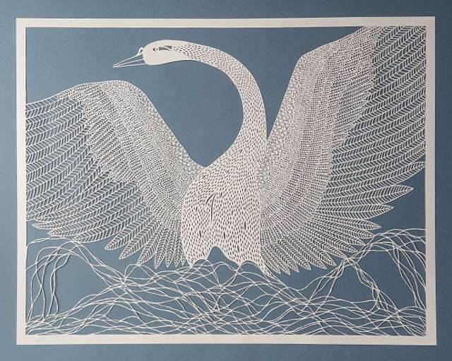 Recent paper cut works, hand drawn and hand cut