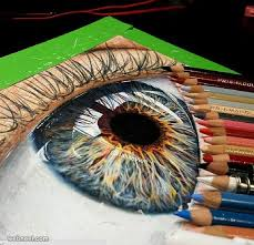Colorful eye, 3D Colors Pencils, 633×611