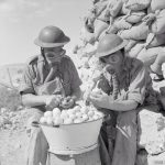 Soldiers using gas masks to cut onions